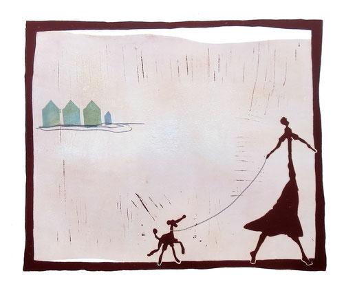 Who let the dog out - Linoldruck der Künstlerin Claudia König