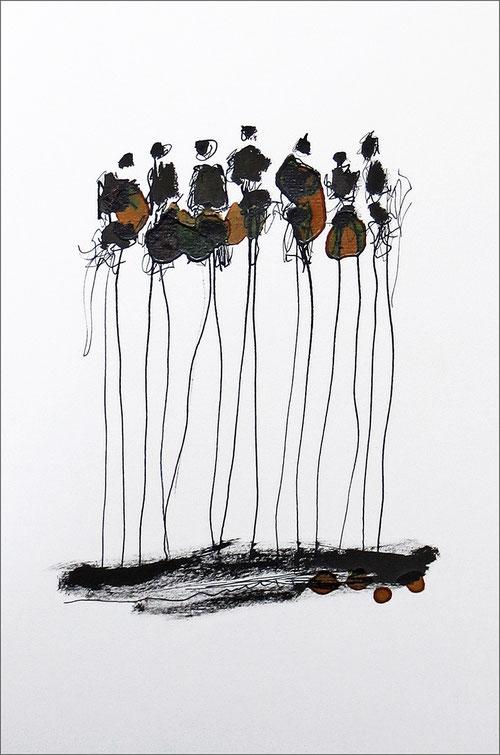Warten - Tuschezeichnung mit Schellack von der Künstlerin Claudia König