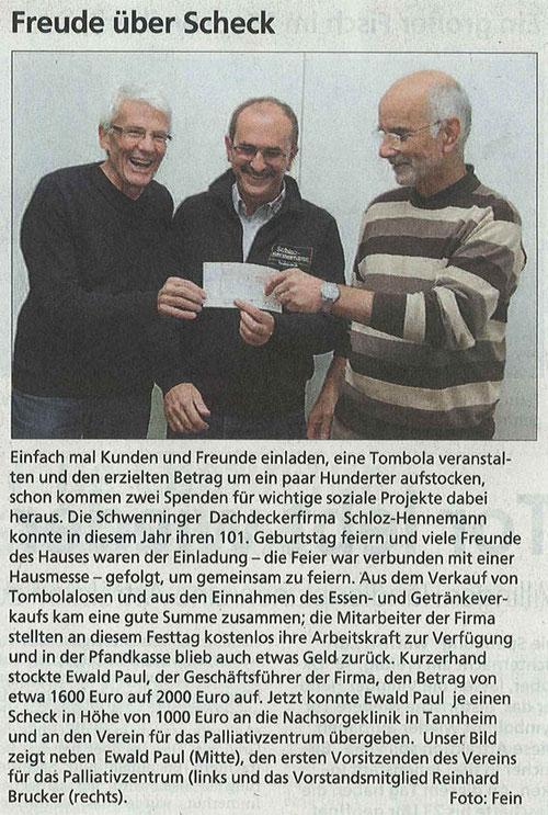 Zeitungsartikel vom 16.10.2013 | Spendenübergabe Palliativzentrum VS