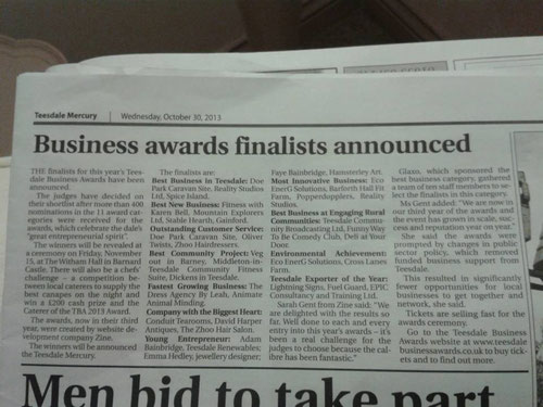 Emma Hedley Finalist Teesdale Business awards