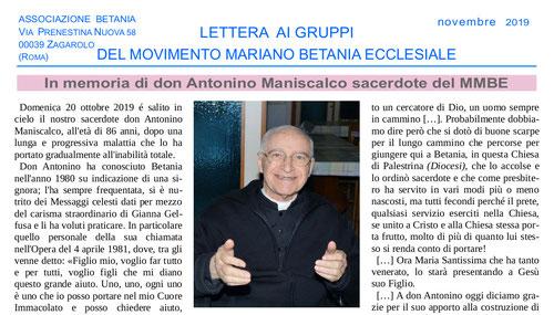 lettera gruppi movimento mariano betania don antonino maniscalco