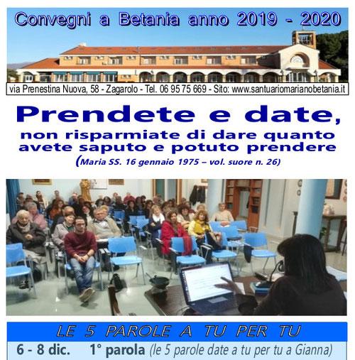 Locandina impegni e attività movimento mariano Betania