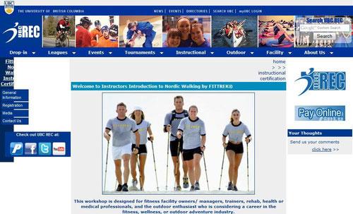 Página web de la Universidad de British Columbia, ofertando el curso de FITTREK