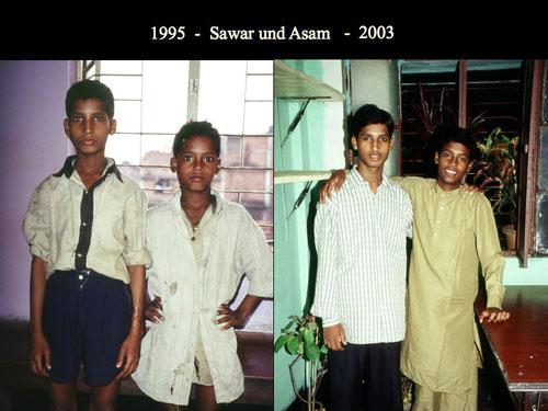 Zwei Kinderarbeiter kurz nach Aufnahme bei H.E.L.G.O. 1995 und 8 Jahre später.  Vergleichen Sie bitte mal den Augenausdruck der Kinder 1995 und 2003