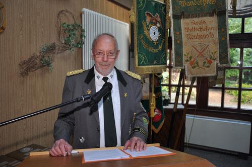 Kreisschützenmeister Otto Heinsohn bei der Eröffnung des Kreisschützentages 2019. Foto: J. Bauer