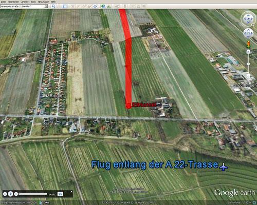 Flug über A 20 (Quelle: Google Earth)