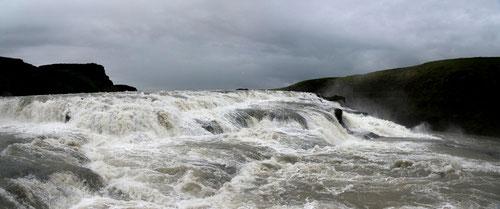 Gullfoss - premier saut - (panoramique de 2 images) - Islande - 14/07/2014