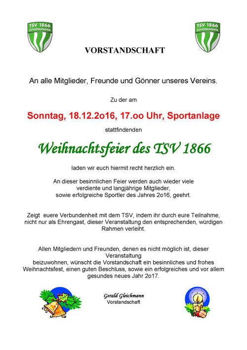 TSV 1866 Schonungen - Weihnachtsfeier 2016