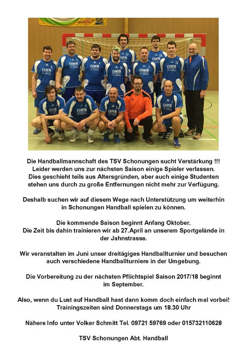 Die Handballmannschaft des TSV Schonungen sucht Verstärkung