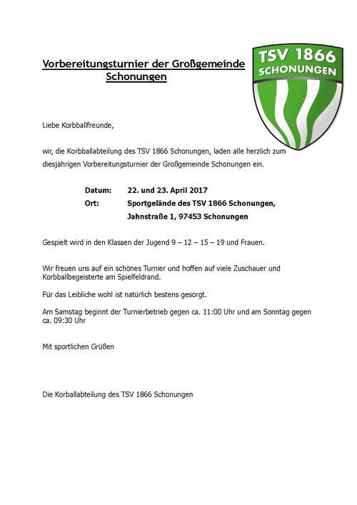 Vorbereitungsturnier Korbball - TSV 1866 Schonungen