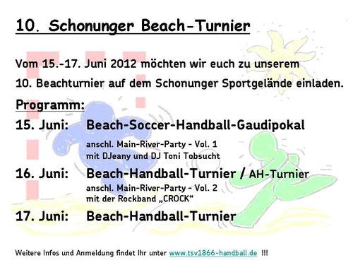 10. Beach-Handball-Turnier des TSV 1866 Schonungen