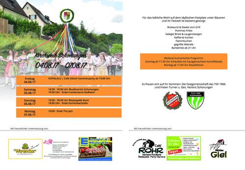 Kirchweih Schonungen 2017 - Flyer