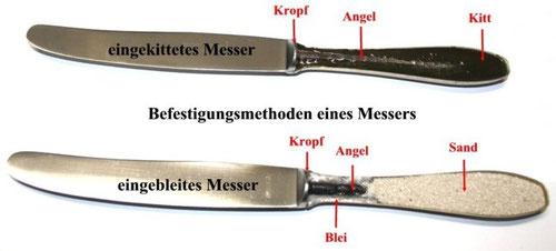 Messer Heft Klingen tauschen einkitten einbleien Kitt Blei spülmaschinenfest