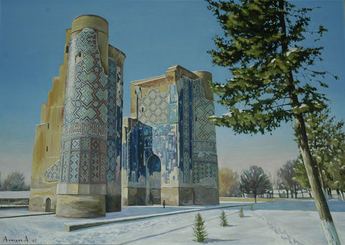 Portail de l'Ak Saray (Palais Blanc) vu du nord, en hiver. Peinture à l'huile d'Azizbek Akmedov, 2007.