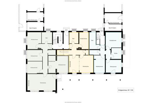 Grundriss, Erdgeschoss, Wohnung, Zweizimmerwohnung, Singles, Pärchen, Alleinerziehende, Kinder
