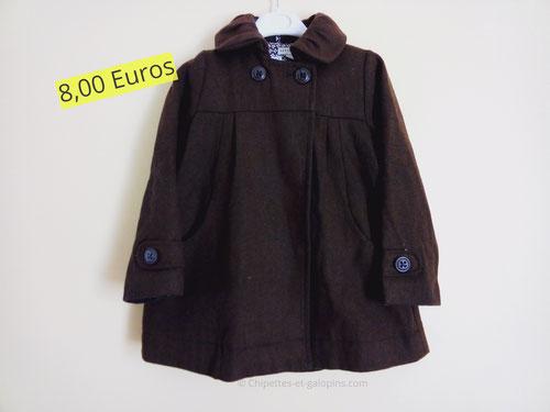 Vêtements d'occasion pour enfants. Manteau épais en laine et polyester Vert Baudet 4 ans
