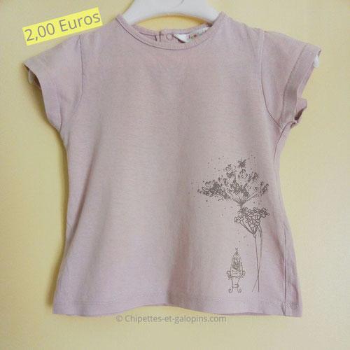 vetements bébé occasion. T-shirt MC Kiabi fille 2 ans