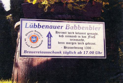 Hinweisschild am Stadtgraben in Lübbenau