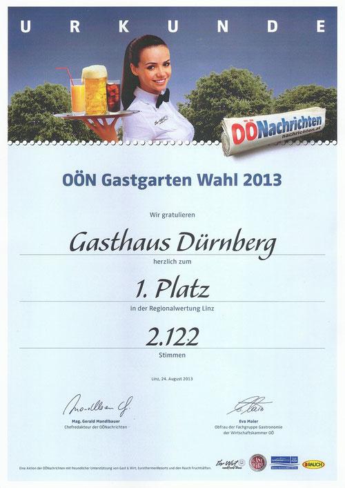 Urkunde Gastgartenwahl 2013