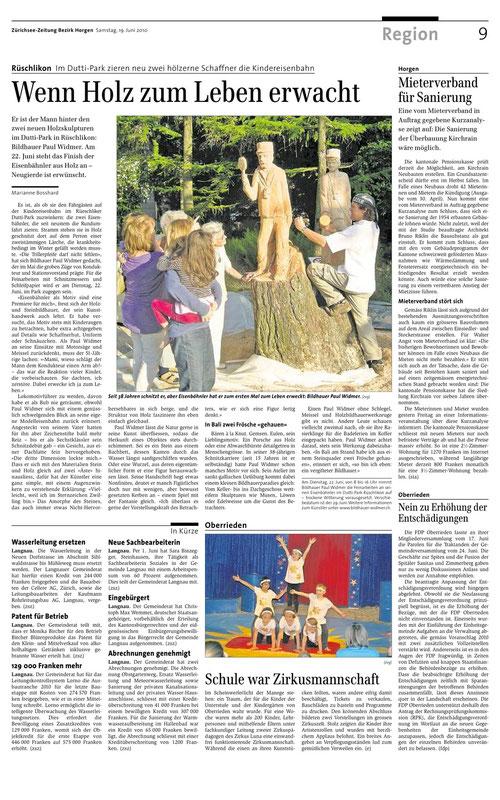 """Artikel zum Projekt """"Isebähnler"""" im Duttiparkt in Rüschlikon"""