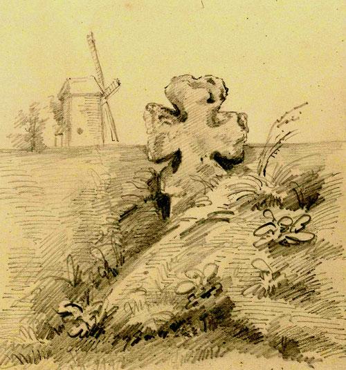 Petit-Saucourt (Nibas)- Dessin de L Gillard- BM Abbeville