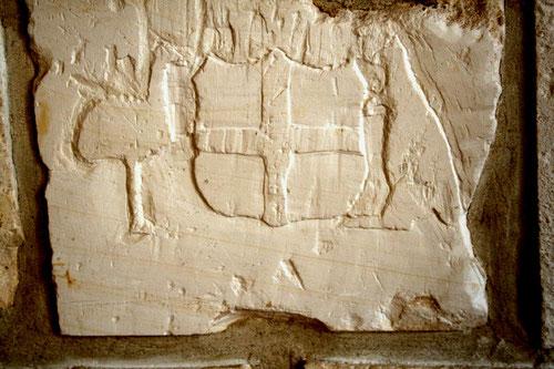 Bussy-les-Daours: un émeu et un kangourou de chaque côté du blason