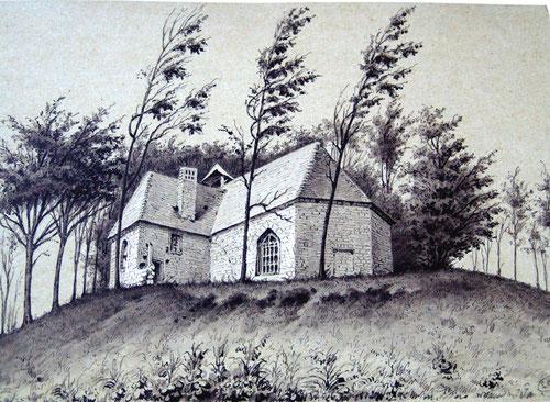 Chapelle d'Hémimont (Bussus-Bussuel)-Dessin de Léon Gillard- Bibliothèque des Antiquaires de Picardie- Amiens