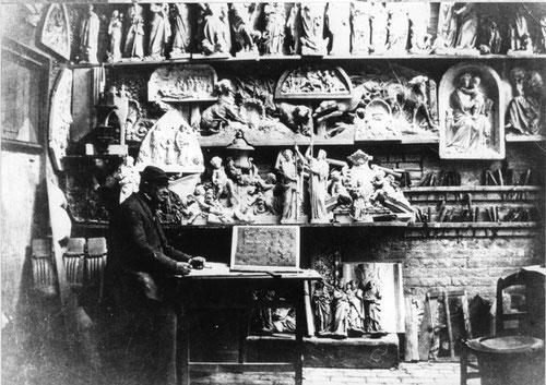 Aimé Duthoit dans son atelier vers 1850