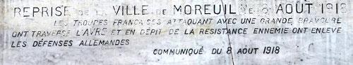 Inscription sur le monument aux morts de Moreuil