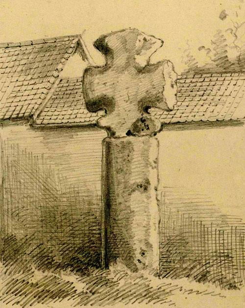 Fressenneville- Croix du Cimetière. Dessin L. Gillard- BM Abbeville