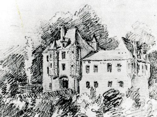 Dessin des Frères Duthoit- Le château de Montrelet, en 1823