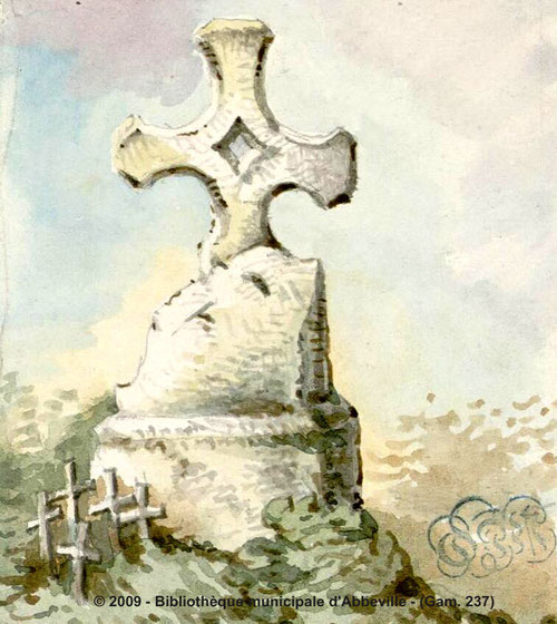 Frettemeule- Aquarelle Oswald Macqueron- 3 août 1860- BM Abbeville