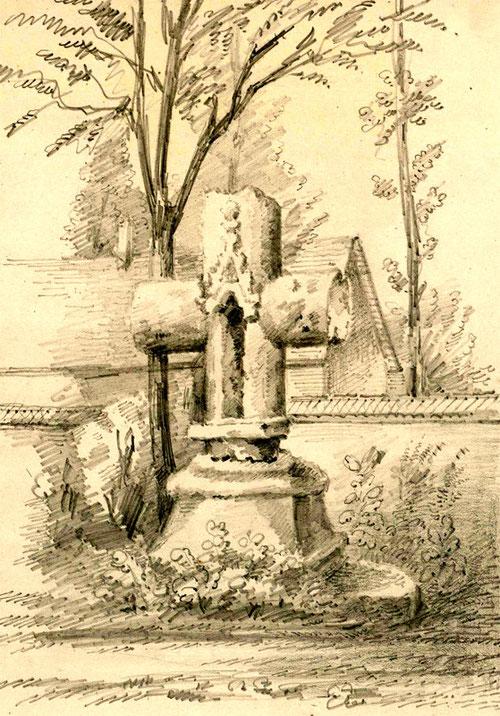 Moyenneville- La croix du Cimetière- Dessin L. Gillard- BM-Abbeville