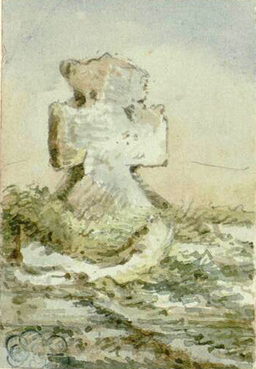 Acheux-en-Vimeu (Frières)- Aquarelle Oswald Macqueron- 21-09-1859- BM Abbeville