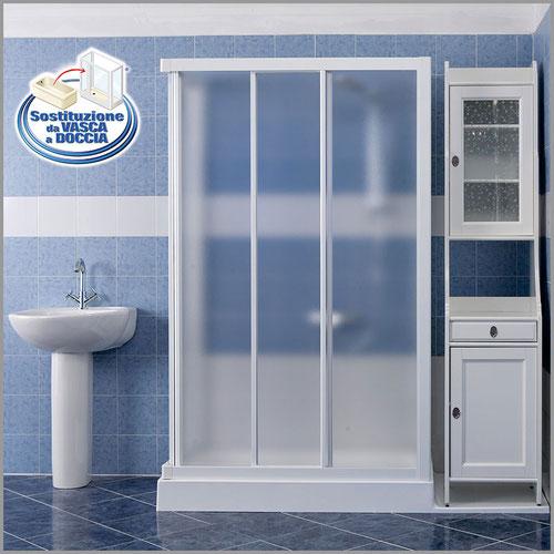 --Sostituzione doccia con vasca soluzione con mobile - Trasforma la vasca da bagno in Box Doccia ...