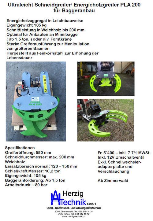 Pichler PLA 200, Schneidgreifer, Einergieholzgreifer