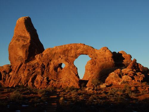 Sonnenaufgang am Turret Arch
