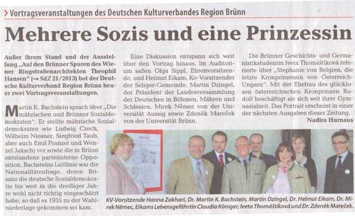 Die Sudetendeutsche Zeitung vom 31.5.2013 berichtet über unseren Beitrag zum Sudetendeutschen Tag - für bessere Lesbarkeit bitte auf den Ausschnitt klicken !