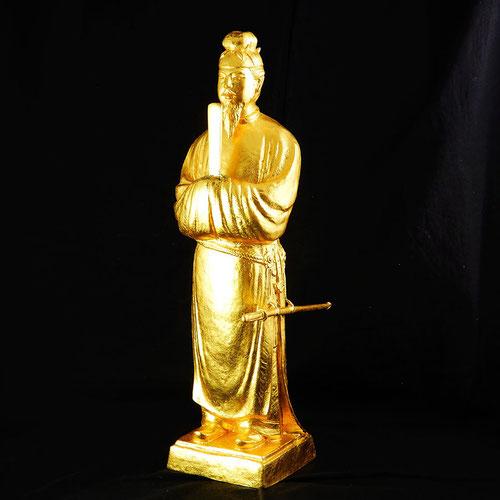 米治一作 聖徳太子像 置物 ブロンズ 金箔 ゴールド