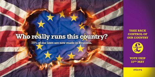 Cartel electoral del UKIP, que afirma que el 75% de las leyes británicas vienen de Europa.