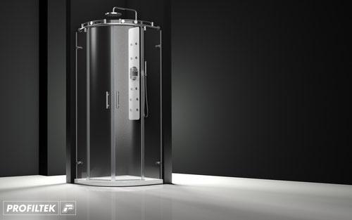 Mampara de ducha curva Profiltek Steel ST-260