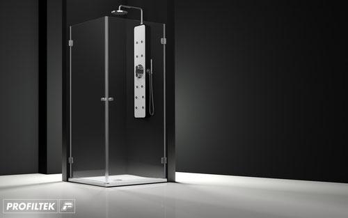 Mampara de ducha angular abatible Profiltek Newglass NG-212