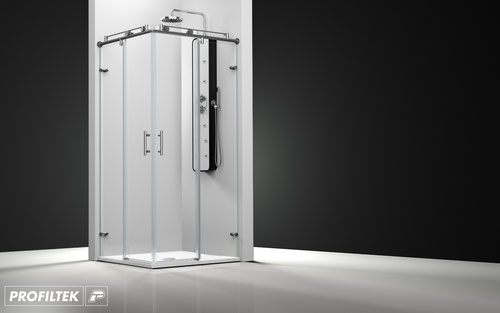 Mampara de ducha angular corredera Profiltek Steel ST-220