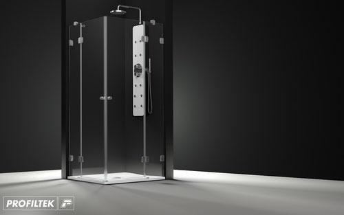 Mampara de ducha angular abatible Profiltek Newglass NG-213