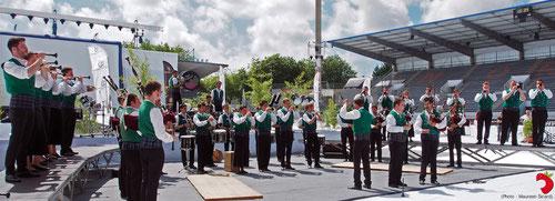 Le Bagad de Plougastell lors de la finale du championnat des Bagadoù à lorient (2014)