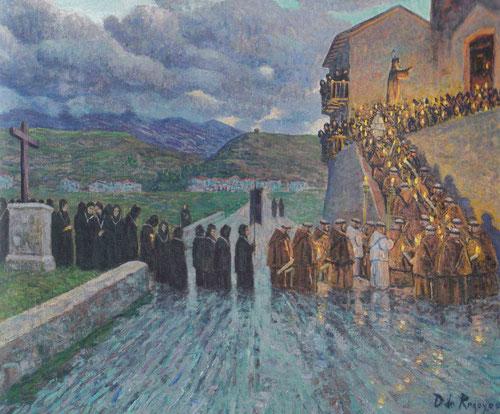 La procesión de capuchinos en Fuenterrabía,1902.Óleo sobre lienzo 60 x73cm.Colección Casacuberta Marsans.