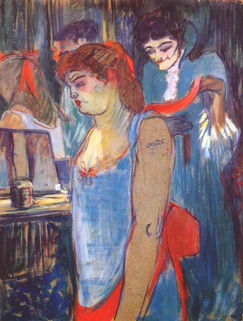 Toulouse Lautrec.Mujer tatuada 1894. Óleo sobre cartón.62x48cm.Kunststiftung Pauline. Colección privada.El tratamiento caricaturesco y perverso.La temática de burdel de Lautrec se centra en la toilette.Toques sueltos,delicados y coloristas...