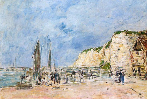 Eugène Boudin.Los acantilados de Pollet en Dieppe 1896.Óleo sobre lienzo.46x65cm.Museo de Dieppe.Con el propósito de dar variedad a su producción artística y encontrar mayor número de compradores.
