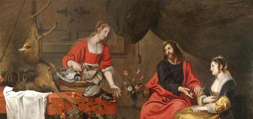 Jesús en casa de Marta y María. Musson.1640.Col BBVA.Pintor flamenco.Lc 10 nos cuenta el relato de Marta Y maria, la acción contemplativa de la Iglesia.Hay comunicación fluida entre las hermanas y Jesús quien señala a María.