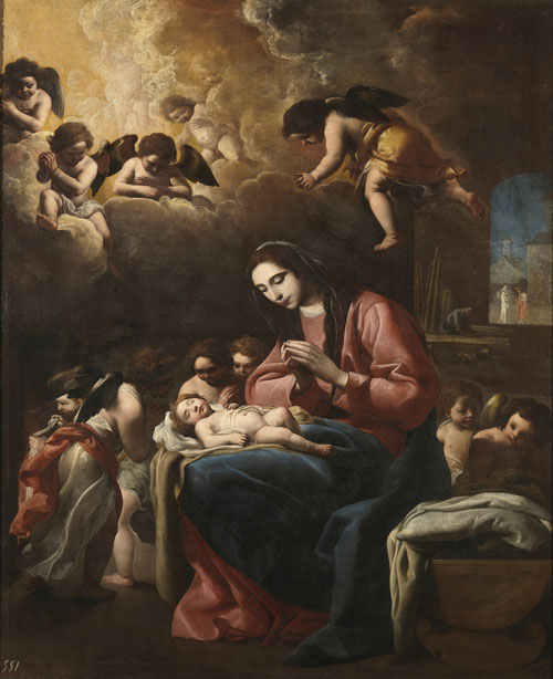 Eugenio Cajés.La Virgen con Niño y ángeles 1618.Óleo sobre lienzo 160x135cm.Museo del Prado Madrid.